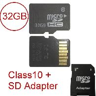 Micro SD 32GB Class 10 + SD Adapter SDHC *NEU* Lagerw.