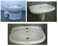 Special SPHINX bathroom set washbasin + half-pedestal + WC in White